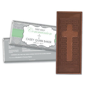 Communion Embossed Cross Chocolate Bar Fluer de Lis Cross