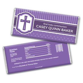 Communion Personalized Chocolate Bar Framed Cross