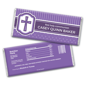 Communion Personalized Chocolate Bar Wrappers Framed Cross
