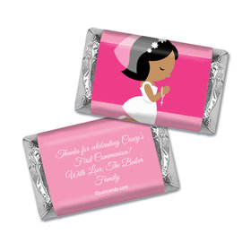 Communion Personalized Hershey's Miniatures Wrappers Girl in Prayer