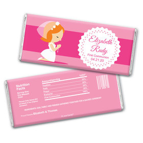 Communion Personalized Chocolate Bar Wrappers Girl in Prayer