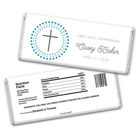 Communion Personalized Chocolate Bar Wrappers Circled Cross