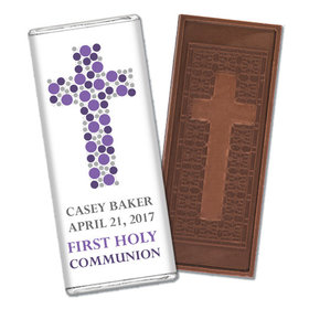 Communion Embossed Cross Chocolate Bar Dots Cross