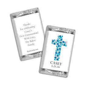 Communion Personalized Hershey's Miniatures Wrappers Dots Cross