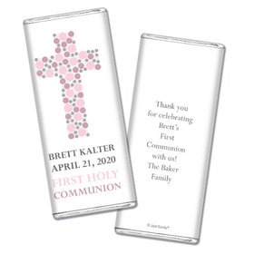 Communion Personalized Chocolate Bar Wrappers Dots Cross