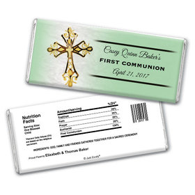 Communion Personalized Chocolate Bar Gold Cross
