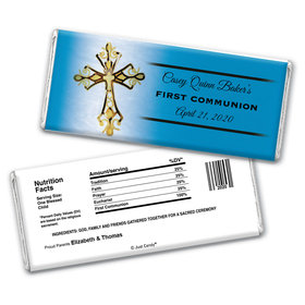 Communion Personalized Chocolate Bar Wrappers Gold Cross
