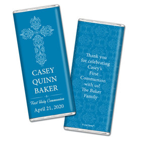 Communion Personalized Chocolate Bar Wrappers Elegant Cross