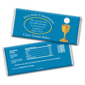 Communion Personalized Chocolate Bar Wrappers Golden Chalice