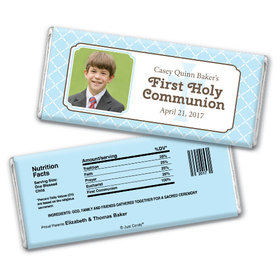 Communion Personalized Chocolate Bar Photo Criss Cross