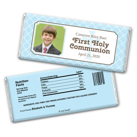 Communion Personalized Chocolate Bar Wrappers Photo Criss Cross
