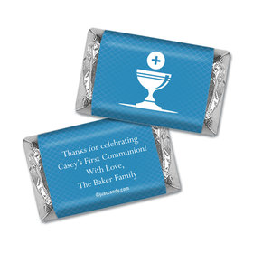 Communion Personalized Hershey's Miniatures Wrappers Framed Name with Chalice
