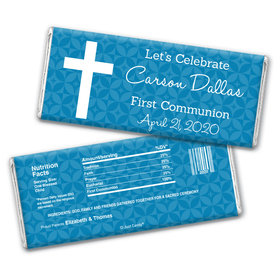 Communion Personalized Chocolate Bar Wrappers Initial Cross