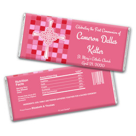 Communion Personalized Chocolate Bar Wrappers Mosaic Cross