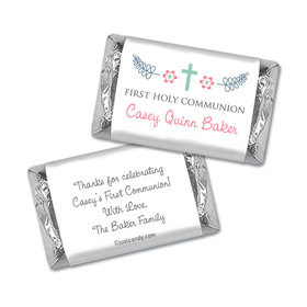 First Communion Personalized Hershey's Miniatures Wrappers Blooming Flowers