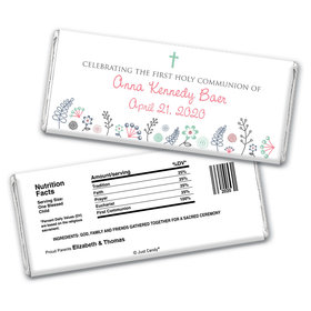 First Communion Personalized Chocolate Bar Wrappers Blooming Flowers