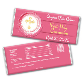 Communion Personalized Chocolate Bar Wrappers Encircled Cross