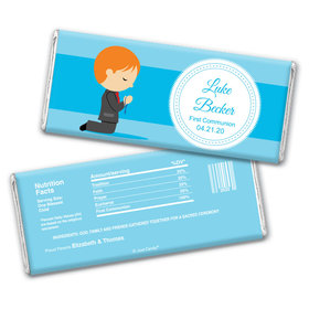 Communion Personalized Chocolate Bar Wrappers Boy in Prayer