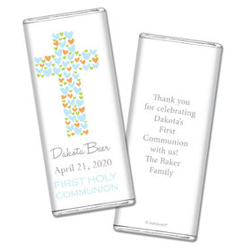 Communion Personalized Chocolate Bar Wrappers Heart Cross