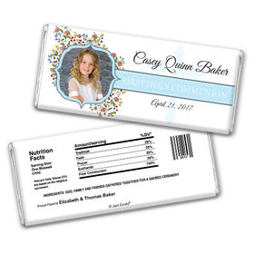 Communion Personalized Chocolate Bar Photo Floral