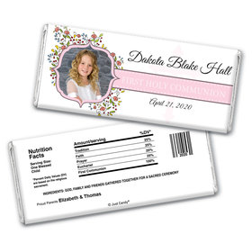 Communion Personalized Chocolate Bar Wrappers Photo Floral