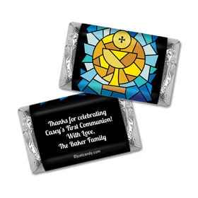 First Communion Personalized Hershey's Miniatures Wrappers Stained Glass Sacrament