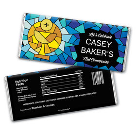 First Communion Personalized Chocolate Bar Wrappers Stained Glass Sacrament