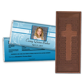 Communion Embossed Cross Chocolate Bar Photo, Cross & Scroll
