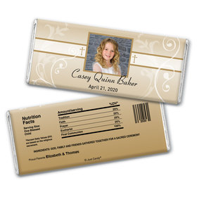 Communion Personalized Chocolate Bar Wrappers Photo, Cross & Scroll