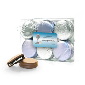 Personalized First Communion Blue Host & Silver Chalice 6PK Chocolate Covered Oreo Cookies