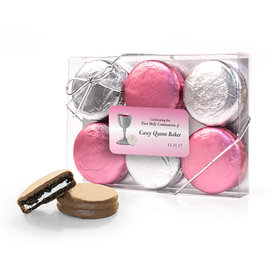 Personalized First Communion Pink Host & Silver Chalice 6PK Chocolate Covered Oreo Cookies