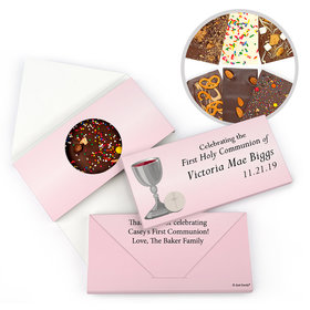 Personalized First Communion Host & Chalice Gourmet Infused Belgian Chocolate Bars (3.5oz)