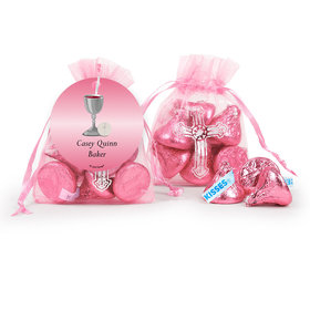 Personalized Communion Host and Silver Chalice Cross Organza Bag with Hershey's Kisses