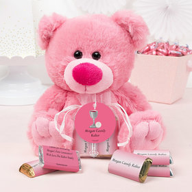 Personalized Girl Communion Host & Chalice Pink Teddy Bear and Organza Bag with Hershey's Miniatures