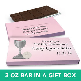 Deluxe Personalized Girl First Communion Host & Silver Chalice Chocolate Bar in Gift Box (3oz Bar)