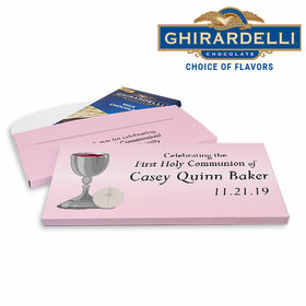 Deluxe Personalized First Communion Host & Silver Chalice Ghirardelli Chocolate Bar in Gift Box