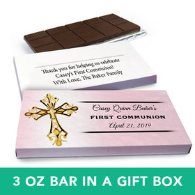Deluxe Personalized Girl First Communion Gold Cross Chocolate Bar in Gift Box (3oz Bar)