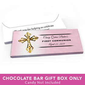 Deluxe Personalized First Communion Gold Cross Candy Bar Favor Box