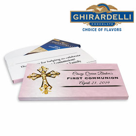 Deluxe Personalized First Communion Gold Cross Ghirardelli Chocolate Bar in Gift Box