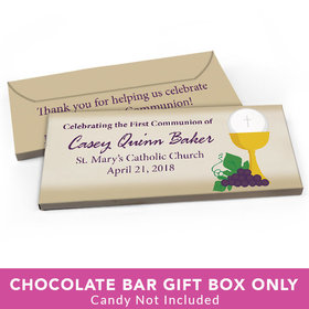 Deluxe Personalized First Communion Chalice & Eucharist Candy Bar Cover
