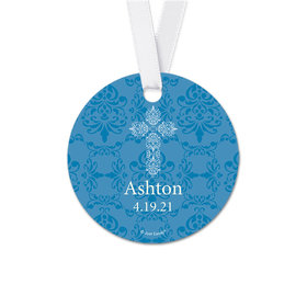 Personalized Round Elegant Cross Communion Favor Gift Tags (20 Pack)