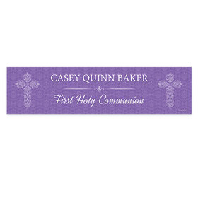 Personalized Communion Elegant Cross Banner