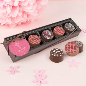 Personalized Girl First Communion Elegant Cross Gourmet Chocolate Truffle Gift Box (5 Truffles)