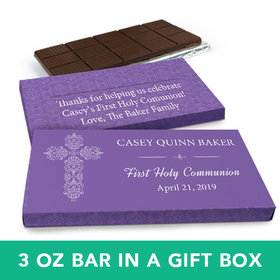 Deluxe Personalized Girl First Communion Elegant Cross Chocolate Bar in Gift Box (3oz Bar)