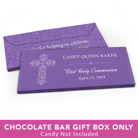 Deluxe Personalized First Communion Elegant Cross Candy Bar Cover