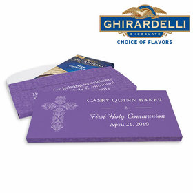 Deluxe Personalized First Communion Elegant Cross Ghirardelli Chocolate Bar in Gift Box