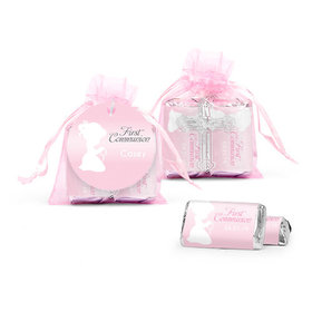 Personalized Communion Child in Prayer Cross Organza Bag with Hershey's Miniatures