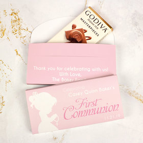 Deluxe Personalized First Communion Godiva Chocolate Bar in Gift Box- Girl in Prayer