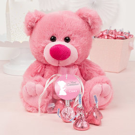 Personalized Girl Communion Precious Prayers Pink Teddy Bear and Organza Bag with Hershey's Kisses