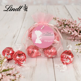 Personalized First Communion Lindt Truffle Organza Bag- Child in Prayer